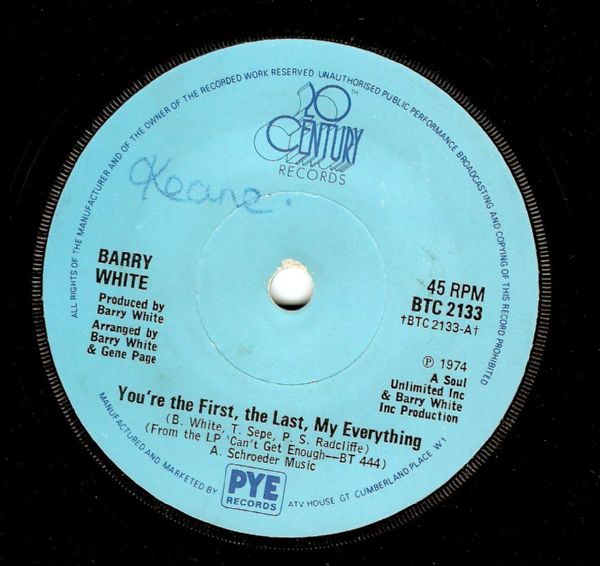 BARRY WHITE You're The First, The Last, My Everything Vinyl Record 7 Inch 20th Century 1974